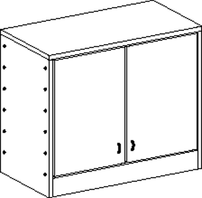 Two-door cupboard with plinth and 2 shelves