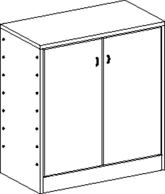 Cupboard with plinth and 2 shelves and double-door