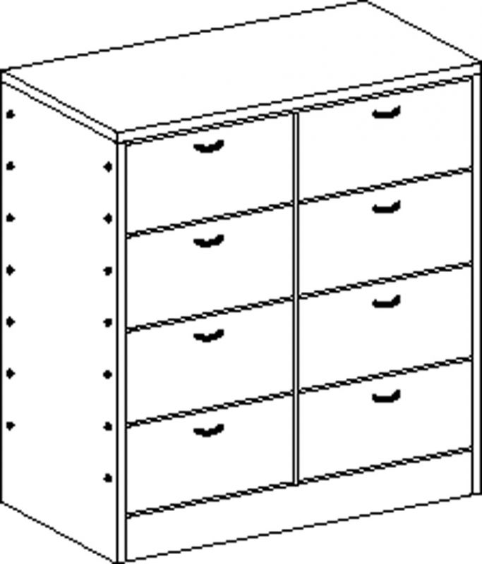 Cupboard with plinth and 8 drawers