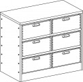 Cupboard with plinth and 2 shelves and 6 drawers