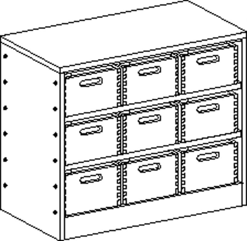 Cupboard with plinth and 2 shelves and 9 drawers