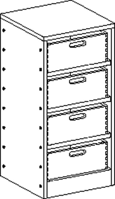 Cupboard with plinth and 3 shelves and 4 drawers