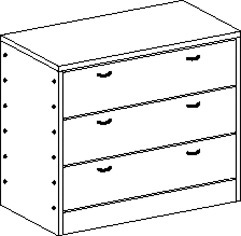 Cupboard with plinth and 3 drawers