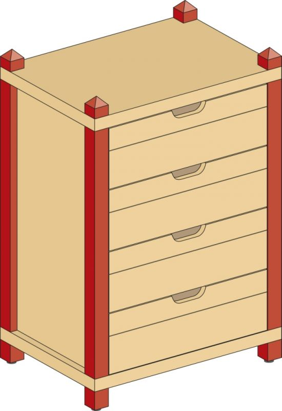 Cupboard with 4 drawers