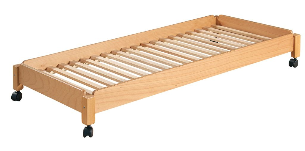 Stackable bed 140x60 cm with wheels
