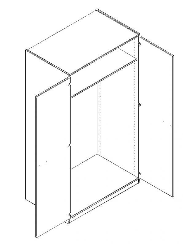 Cabinet with locker doors