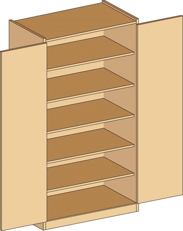 Cabinet with shelves and locker doors