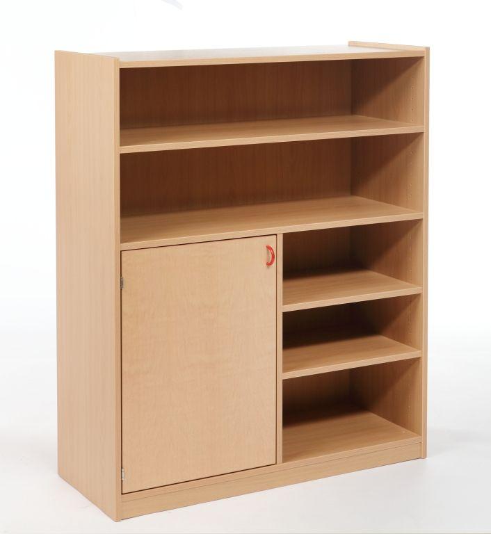 Combined two-door cupboard with shelves