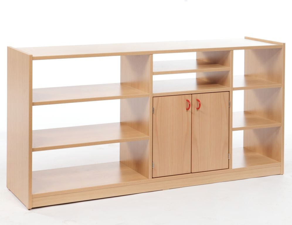 Combined cupboard with shelves, double-sided