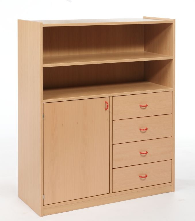 Combined cupboard with drawers and door