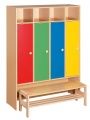 Lockers without locks with bench, colour combination