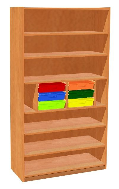 Shelf cabinet with 6 plastic drawers
