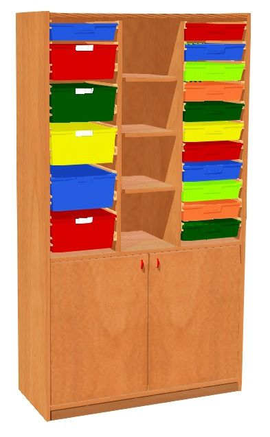 Cabinet with doors and 17 plastic drawers