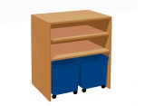 Cabinet shelf with 2 plastic drawers on wheels