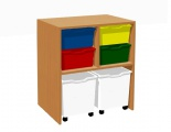 Cabinet with 4 plastic drawers and 2 drawers on wheels