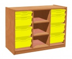 Cupboard with plint, 2 shelves and 6+2 plastic drawers