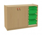Cupboard with plinth, 2 doors left and 3+1 plastic drawers