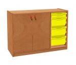 Cupboard with plinth, 2 doors left and 3+1 plastic drawers TVAR v.d. Klatovy