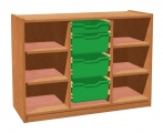 Cupboard with plint, 4 shelves and 3+1 plastic drawers
