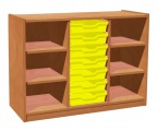Cupboard with plint, 4 shelves and 7 plastic drawers