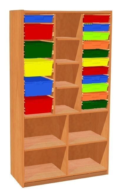 Shelf cabinet with 17 plastic drawers