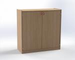 Two-door cupboard with 3 shelves, H: 100 cm