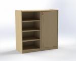 Combined one-door cupboard with 6 shelves, H: 100 cm