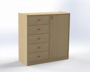 Combined one-door cupboard with drawers