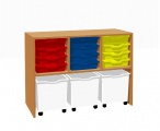 Cabinet shelf with 12 plastic drawers and 3 drawers with wheels