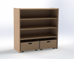 Cupboard with 2 shelf and 2 drawers, H: 100 cm
