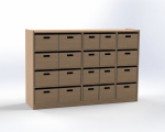 Cupboard with 20 drawers, single-sided, height 100 cm