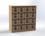 Cupboard with shelves and drawers, H: 100cm