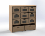 Cupboard with 1 shelf and 8 drawers, H: 100 cm