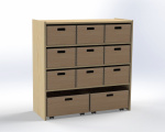 Cupboard with 1 shelf and 11 drawers, H: 100 cm