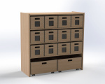 Cupboard with 1 shelf and 10 drawers, H:100 cm