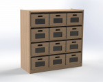 Cupboard with 3 shelves and 12 drawers, height 100 cm