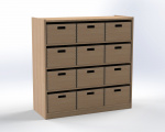 Cupboard with 3 shelves and 12 drawers, H: 100 cm