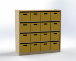 Cupboard with 3 shelves and 16 drawers